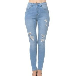 Wax Light Blue Push-Up High Rise Jeans